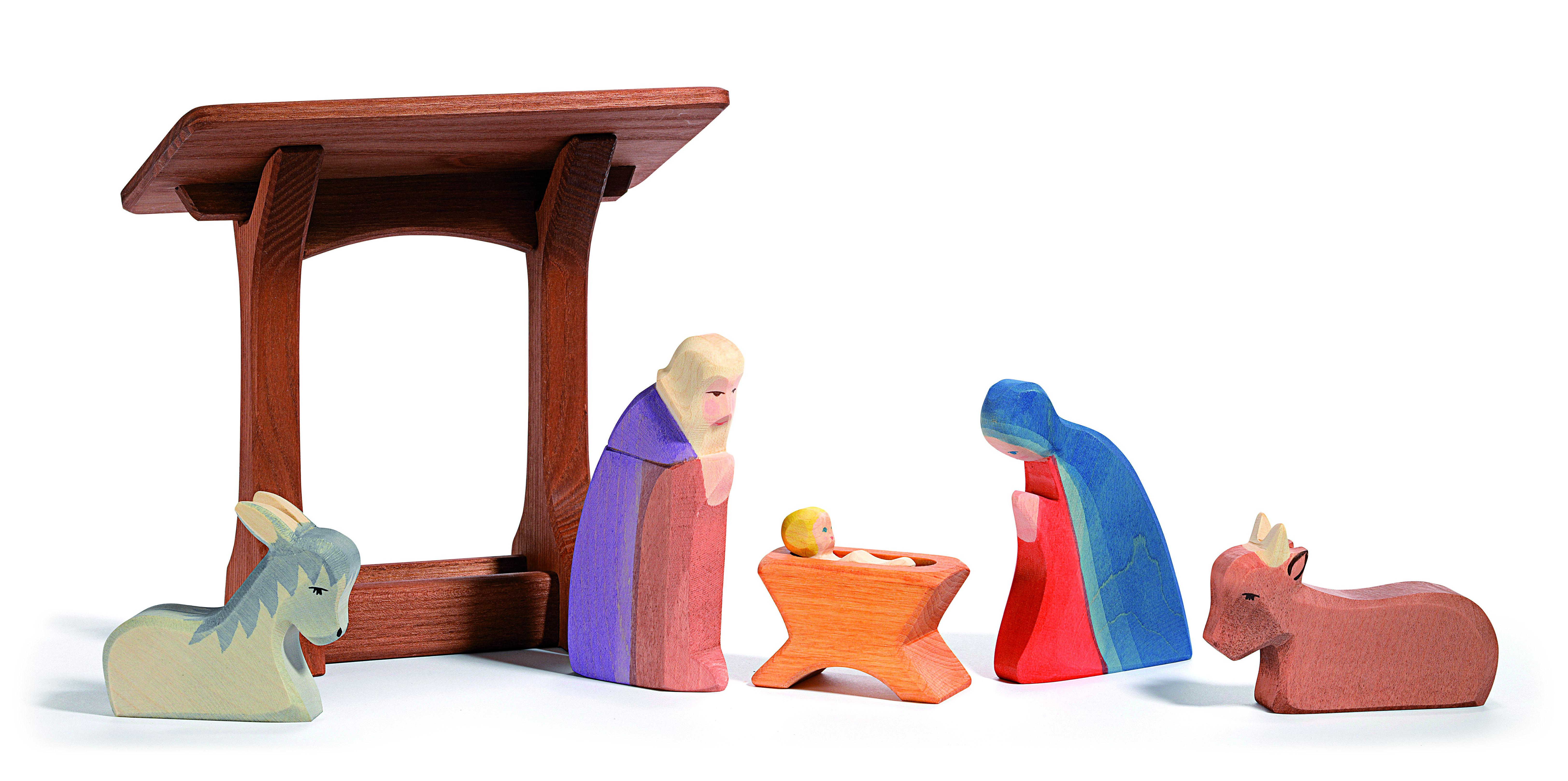 Ostheimer Krippenfiguren Heilige Familie 5 tlg klassisch ohne Stall, Art. 4040