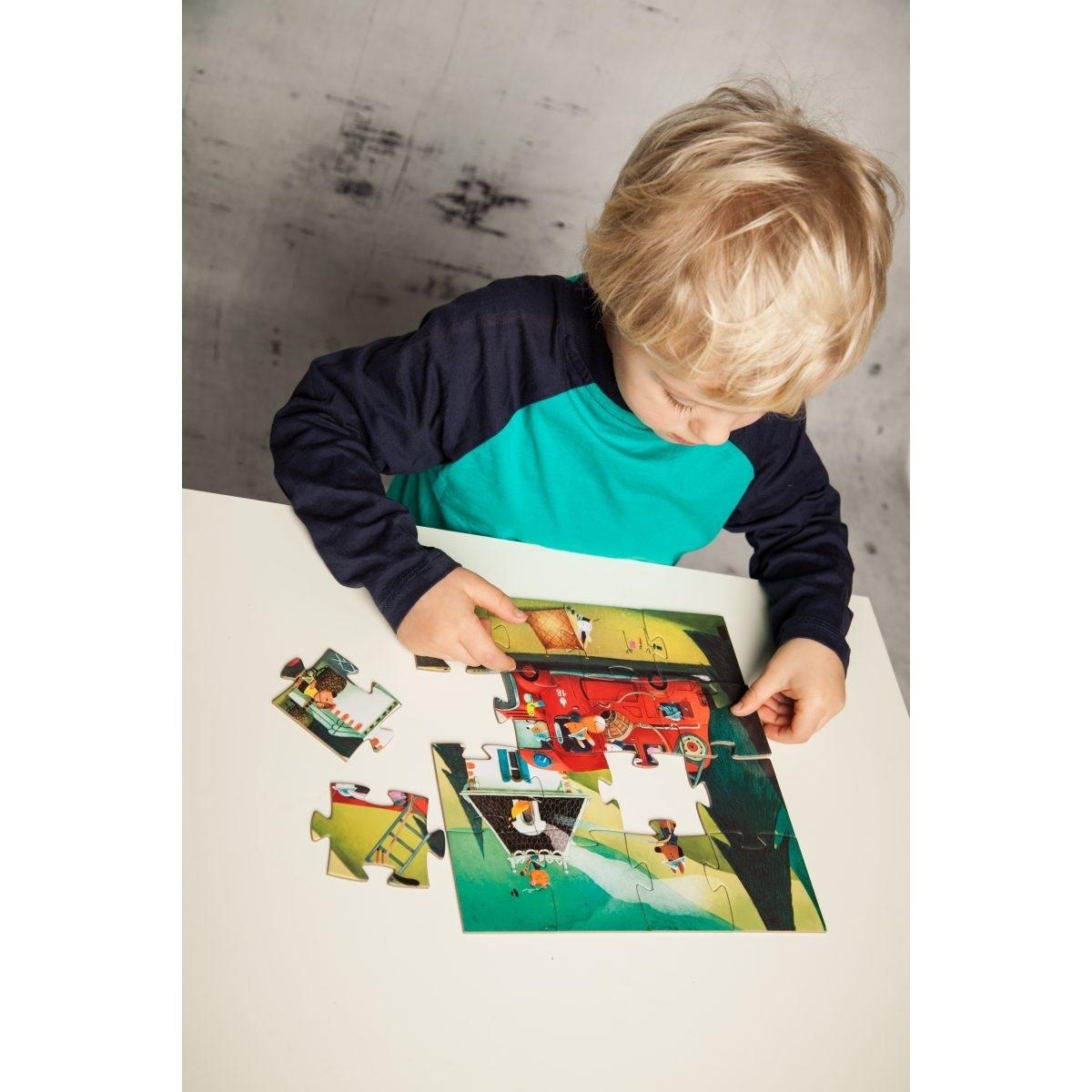 Djeco Puzzle Feuerwehr mit 16 Teilen ab 3 Jahren