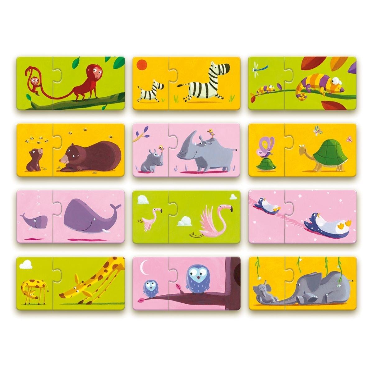 Djeco Puzzle Duo Tier-Mama und Tier-Kind, ab 2Jahren