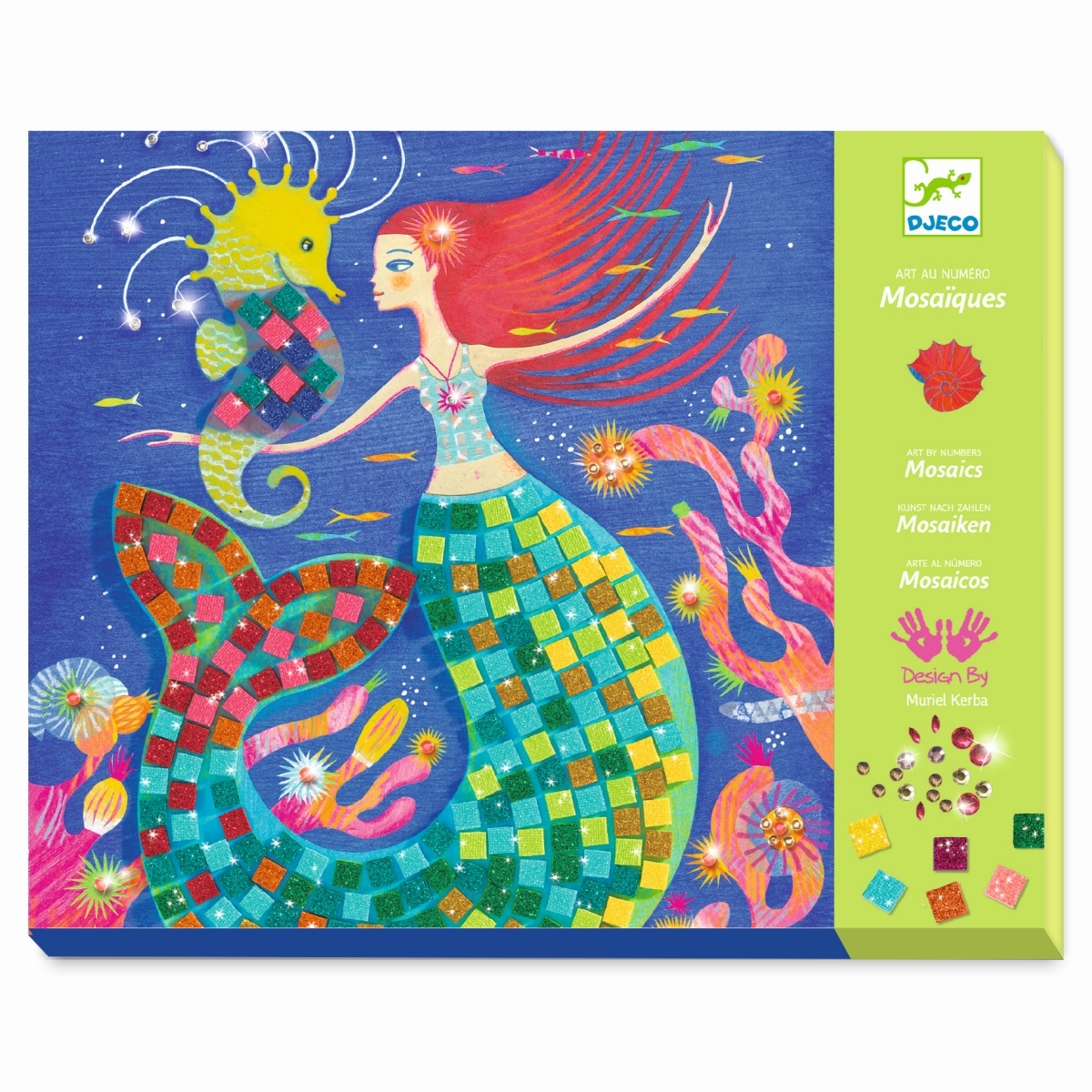 Djeco Mosaik mit Meerjungfrauen und Glitzersteinen, ab 7 Jahren