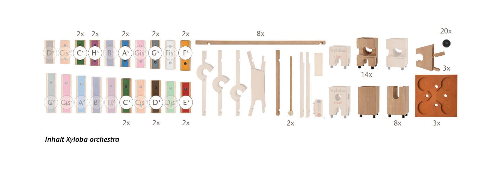 Xyloba orchestra Art. 22013, enthält 96 Bauelemente, davon 16 Klangplatten, ab 5 Jahren