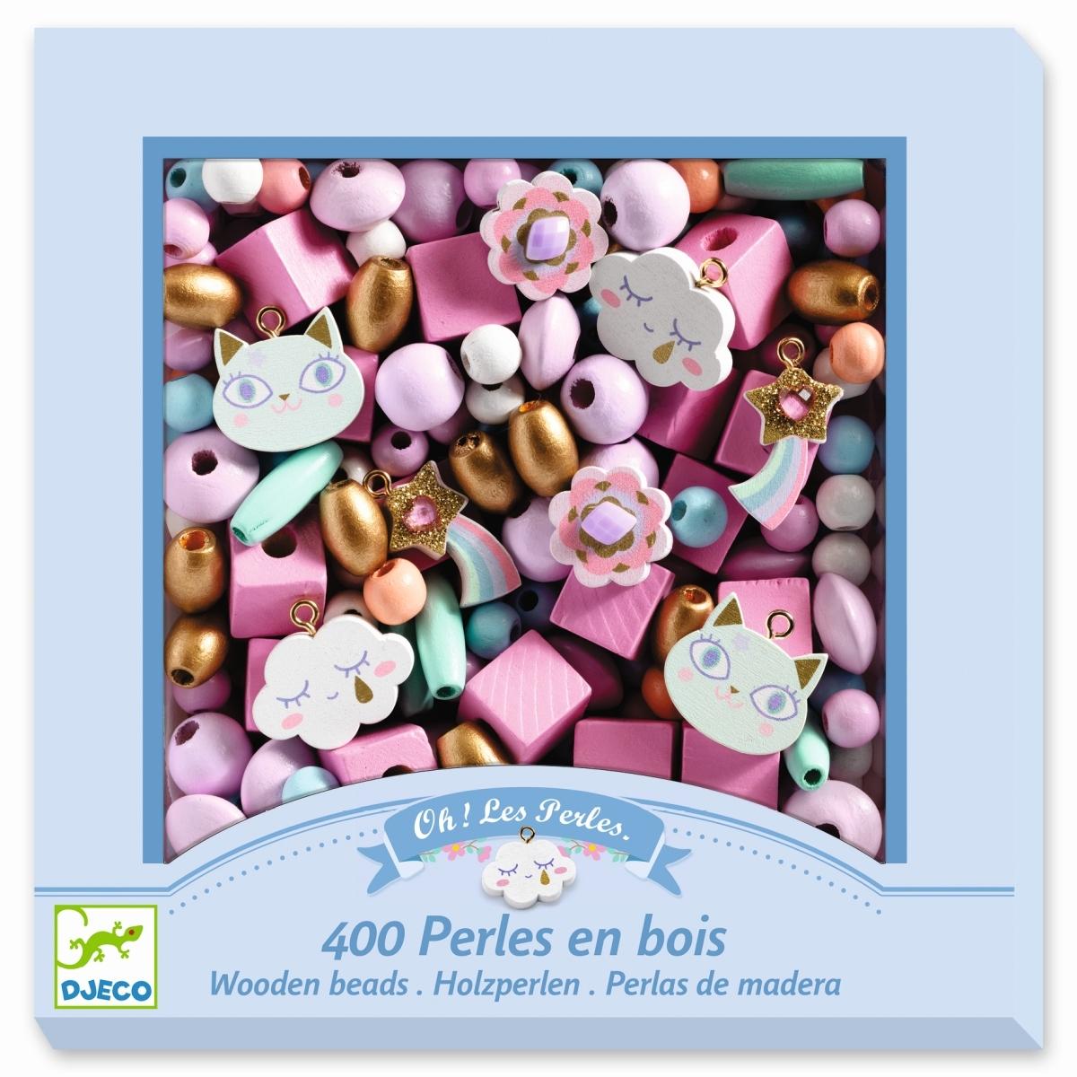 Djeco Schmuck-Set mit 400 Holzperlen, Grundfarben in rosa, ab 4 Jahren